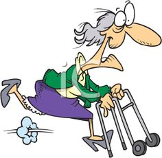 Grandparents Day Clipart - Grandma Running with her Walker