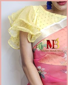 Image may contain: one or more people Choli Blouse Design, Stylish Blouse Design, Saree Blouse Neck Designs, Fancy Blouse Designs, Sleeves Designs For Dresses, Sleeve Designs, Designer Blouse Patterns, Organza Saree, Fashion Blouses