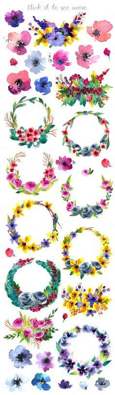Hand-drawn flower MEGAPACK by Kat_Branch on Creative Market - Ideen finanzieren Flower Tattoo Drawings, Flower Tattoos, Plant Drawing, Painting & Drawing, Painting Tattoo, Watercolor Flowers, Watercolor Paintings, Drawing Flowers, Creation Photo