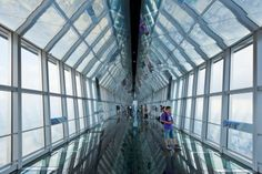 The highest strata of the Shanghai World Financial Center's three-level observatory, located on the 100th floor of the building, tops out at a staggering 1,555 feet high. Once there, you'll be surrounded by glass on three sides in order to look out over the city—there are even a few glass panels installed into the floor so you can look down as well. If the ultra-height gets the better of you and you want something just a little closer to ground level, there's also an observation deck on the…