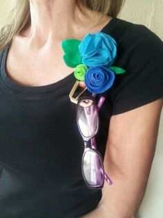 Items similar to Blue and Green Felt Flower Eyeglass Holder Pin on Etsy Eyeglass Holder, Felt Flowers, Eyeglasses, Eyewear, Upcycle, Projects To Try, Jewellery, Creative, Green