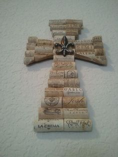 Wine Cork Cross with Le Fleur by StashasCreations on Etsy