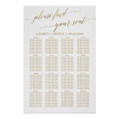 Elegant Gold Calligraphy Seating Chart Seating Plan Wedding, Wedding Reception Tables, The Wedding Date, Diy Wedding, Elegant Wedding, Wedding Ideas, Wedding Gifts, Wedding Planning, Gold Calligraphy