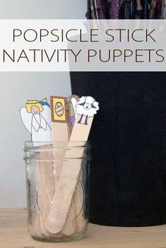 Popsicle Stick Nativity Puppets