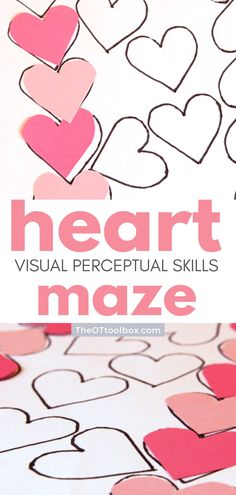 This heart maze activity is an easy way to work on visual perceptual skills needed for tasks like handwriting, reading, and learning. The hearts are placed in a path-like maze that challenges visual perception skills. All you need is paper, scissors, and a marker, so it's a great activity for teletherapy or virtual learning or virtual Valentines' Day parties.