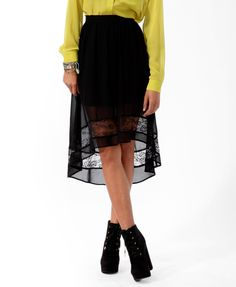 High-Low Lace Panel Skirt | FOREVER21 - 2019571007
