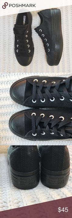 "Converse Triple Black Platform Sneakers •The classic Converse All Star Lo Chucks just got a feminine lift! Black canvas upper, 6 eyelet lace-up, and 2"" platform beneath a rubber bumper and toe box.   •Women's size 6, will be best for a 6.5 or wide 6.  •Display shoe, like new condition.  •NO TRADES/HOLDS/PAYPAL/MERC/VINTED/NONSENSE. Vans Shoes Sneakers"