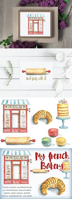 I love a French cafe and this little Patisserie has charm spilling over! This collection is small but mighty with a building image, croissant, rolling pin, 3 French Patisserie, French Bakery, French Cafe, Bakery Design, Menu Design, Blog Design, Dessert Logo, Bakery Website, Giant Cake