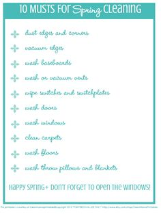 10 Musts for Spring Cleaning + FREE printable