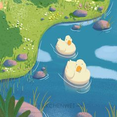 Animal Drawings, Cute Drawings, Duck Wallpaper, Cute Ducklings, Duck Art, Illustration Art Drawing, Environment Concept Art, Pretty Art, Aesthetic Art