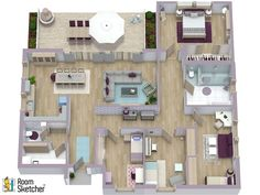 Are you working on a new design for your home? Check out this 3D Bungalow Floor Plan. We love how well-laid out it is for a family of five and how they used the floor plan to think about their color scheme - beautiful!  Want to create a 3D Floor Plan too? Here's how: http://www.roomsketcher.com/features/  #renderings #floorplans #residential #residentialdesign #dreamhome #dreamhouse #3Dfloorplans #homedesign