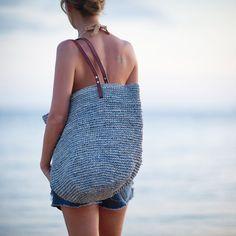 Urlaub Tasche grau Strandtasche Strandtasche Resort Tote Summer Tote Bags, Beach Tote Bags, Macrame Bag, Knitted Bags, Leather Handle, Strand, Purses And Bags, Etsy, Fashion Handbags