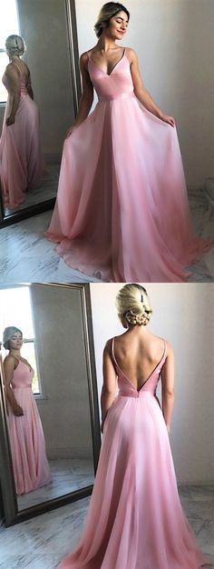 Prom Dresses Ball Gown, Flowing A-Line V-Neck Sweep Train Pink Chiffon Prom Party Dress, from the ever-popular high-low prom dresses, to fun and flirty short prom dresses and elegant long prom gowns. Prom Dresses For Teens, Elegant Prom Dresses, Pink Prom Dresses, Backless Prom Dresses, A Line Prom Dresses, Cheap Prom Dresses, Prom Party Dresses, Prom Gowns, Dress Prom
