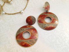 Vintage Abstract Round Dangle Earrings. Edgar Berebi. Metal Jewelry. Earth Tones. Brown. Enamel. Large Earrings. Statement. 1980s. Rustic.