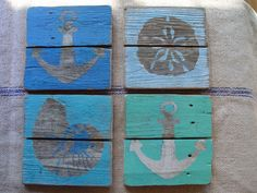Set of 4 Nautical Paintings on Reclaimed Picket Fencing Wood