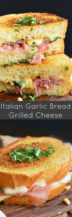 Italian Garlic Bread Grilled Cheese. It's made on GARLIC BREAD and loaded with gooey mozzarella cheese, pine nuts, and prosciutto.