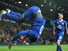 Everton's Romelu Lukaku celebrates after scoring against West Brom during the English Premier League soccer match between West Bromwich Albion and Everton at the Hawthorns, West Bromwich, England.  Rui Vieira, AP