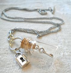 Necklace TINY Key in a Bottle Pendant  by GrievousAngelDesigns, $22.00