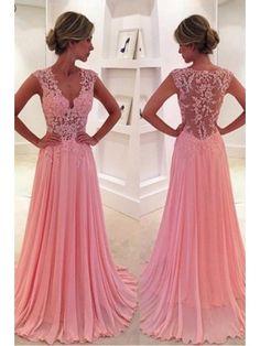 On Sale Colorful Prom Dresses 2018 V-Neck Court Train Pink Prom Dress/Evening Dress PG 239