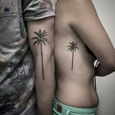 Palm tree tattoo, side tattoo, matching tattoo, palm tree matching tattoos... i want this!!❤