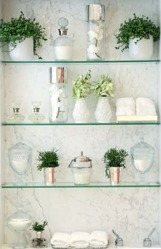 Glass shelves Support - - - Glass shelves In Bathroom Storage - Glass shelves In Bathroom Towel Racks - Glass Shelves In Bathroom, Floating Glass Shelves, Spa Like Bathroom, Bathroom Storage, Amazing Bathrooms, Small Bathroom, Bathroom Ideas, Bathroom Green, Bathrooms Decor