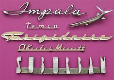 Vintage antique collectible Nameplates and Lettering Retro Design, Design Art, Graphic Design, Vintage Typography, Typography Letters, Impala Chevrolet, Lettering Design, Hand Lettering, Frigidaire