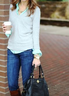 Sweater: J.Crew factory (old) (similar 1, 2, 3) Blouse: H (2012) (similar here, here, here, here) Jeans: J.Crew Boots: Tory Burch (got mine on sale) Bag: TB (similar on sale) Watch: Similar Bracelet Necklace: old Similar