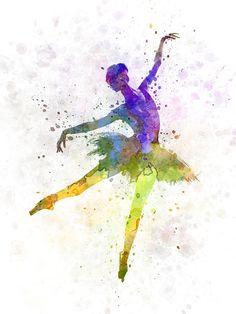 Watercolor woman ballerina ballet dancer dancing 04 by Paulrommer on Etsy Ballerina Kunst, Ballerina Painting, Ballet Art, Ballet Dancers, Dancing Drawings, Art Drawings, Danse Country, Image Deco, Dance Paintings