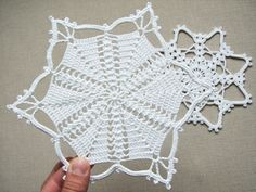 Crochet snowflakes - set of 2 different snowflakes - handmade of white cotton yarn. Each snowflake has been stiffened using natural cornstarch to hold the shape. You have many ways to use these snowflakes - as gifts or put on a greeting card, they can be hung in your Christmas tree or