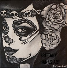 Day of the Dead  Dia de los muertos Print  8 by 8  Lowbrow Tattoo Art Rockabilly Pin up girl black and white