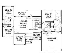 Plan 89845AH Open Concept Ranch Home Plan House plans House