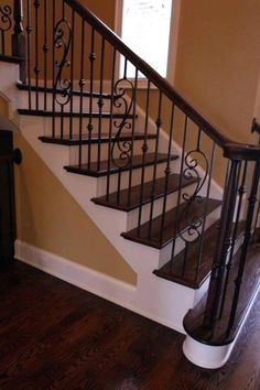 Wrought Iron Staircase Design Ideas, Pictures, Remodel and Decor Wood Railings For Stairs, Wrought Iron Stair Railing, Stair Railing Design, Iron Balusters, Staircase Railings, Staircases, Rod Iron Railing, Bannister, Ideas