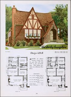 The Daily Bungalow Architecture Design, Plans Architecture, Storybook Homes, Storybook Cottage, Bungalow Homes, Cottage Homes, Poster Graphics, Tudor Style Homes, Vintage House Plans