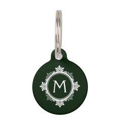 Snowflake Wreath Monogram in Dark Green & White Pet Nametags  A snowflake wreath monogram in dark green and white. Simply, classically seasonal.