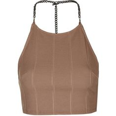 TopShop Chain Bandage Crop Top (170 ILS) ❤ liked on Polyvore featuring tops, nude, spaghetti-strap top, embellished tops, embellished crop top, brown tops and bandage crop top