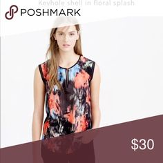 J. Crew silk keyhole shell floral PRODUCT DETAILS A vibrant printed shell with pretty details like a keyhole neckline and open-weave stitching around the sleeves instantly upgrades any outfit.  Silk. Dry clean. J. Crew Tops