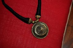 Black Fashion Necklace/ Gold Ethnic Threaded by Chocolatepepper, $15.00