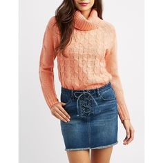 Charlotte Russe Cable Knit Cowl Neck Pullover ($9.99) ❤ liked on Polyvore featuring tops, sweaters, coral, long cowl neck sweater, cable sweaters, longer sweater, cowl neck sweaters and cable-knit sweater