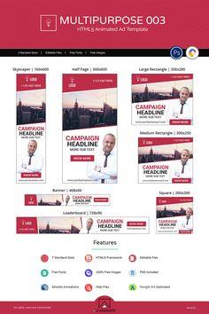 Multipurpose Banner (MU004) - HTML Ad Animated Banner, #Banner #Multipurpose #Animated #Ad #AnimatedBanner Instagram Animation, Google Banner, Brand Fonts, Campaign Logo, 3d Face, Marketing, Web Banner, Modern Logo, Ad Design
