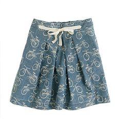 J.Crew's bicycle-print chambray skirt