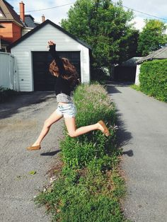 #Girl #Jump #Crossing #Weeds #Bushes | hippieindisguise | VSCO Grid