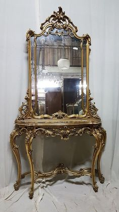 Beautiful Antique French Baroque Louis XIV Gilt Wood Console Table with Mirror #LouisXIV