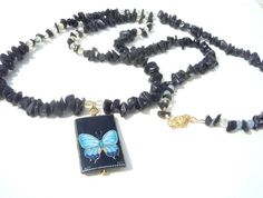 Long Black Moonstone necklace with CitrineAngelite by Iridonousa, $225.00