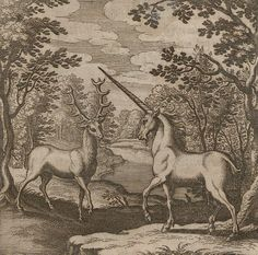 Alchemic engraving with a red deer and unicorn, Theosophie & Alchemie, 1678