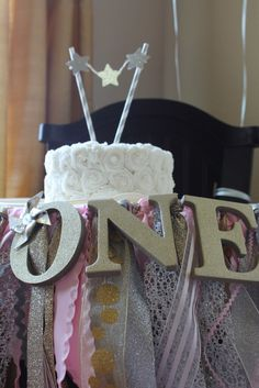 High Chair Smash Cake Set-up - sparkly and adorable!