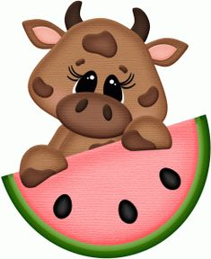 Silhouette Design Store: cow w watermelon pnc