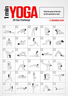 Yoga Challenge by DAREBEE Amazing Website, would be great to compile a workout folder to pull from & write on the board in the gym 30 Tage Yoga Challenge, 30 Day Workout Challenge, Beginner Fitness Challenge, 30 Day Challange, Stretch Challenge, Plank Challenge, Wednesday Workout, Fitness Herausforderungen, Planet Fitness
