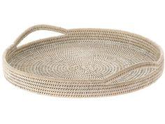 Kouboo, La Jolla Handwoven Rattan Round Serving Tray, 18 x 2 inch, White Wash #KOUBOO #Tropical