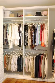 Guess what? I officially have a closet. And it's not just a closet. It's beautiful, organized and has clothing hanging inside it. Can you imagine? Oh, and clothing hanging on new, pretty, matching hangers. And i can see everything! Did I mention this closet's a beauty? Sorry, I can't get enough of this new organized…