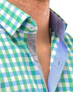 Stone Rose Green Checkered Designer Dress Shirts - GREEN BABY BLUE